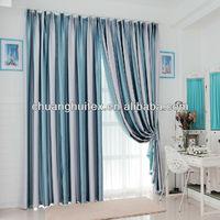 "Light blue stripe wide ready-made window curtain by 118""W x 106""L"