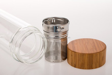 borosilicate glass water bottle with bamboo lid ,double wall tea cup, fruit infuser bottle