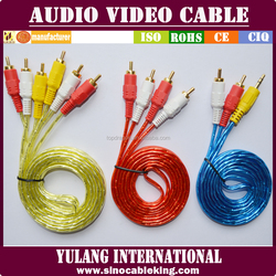Transparent 3 RCA to 3 RCA S-video Cable ,RCA Audio Wire Cable