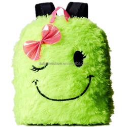 2015 Kids toy fashion custom animal wholesale school backpack soft green travelling bag