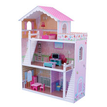 86 X 32.5 X(H)110CM E1 MDF Easy Assembly Three Floors Wooden Doll House With Paper Sticker Pattern, Wooden Dollhouse