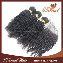 Most Beautiful Remy Hair Weaving ding unprocessed curly intact virgin peruvian hair closure