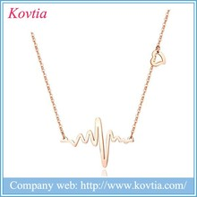 Wave band pendant necklace broken heart necklace designers fashion 18k gold necklace