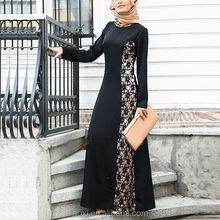 Women latest lace design 100% polyester black turkish clothes for women Chian wholesale abaya turkey