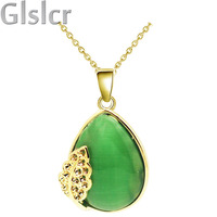 emerald green brand stone float tear water drop pierced cat eye insert Quality fashion jewelry Pendant Necklace 60198