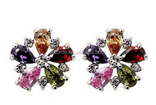 Dazzling Rhodium Plated Colorful Pear Cut Flawless Cubic Zirconia Flower Claw Post Stud Earrings