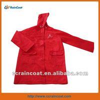 waterproof red hooded adult plastic smock