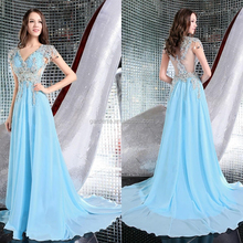 Charming Sweep Train Long A Line Sexy V Neck Luxury Heavily Beaded Crystal 2012 New Design Ladies Dress With Appliques (MAE0029)