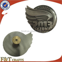 Customized high relief 3D logo metal pin badge for car