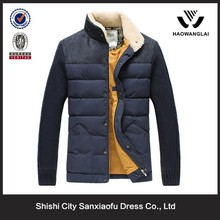 Fashion custom leisure quilted jacket fabric with Wool Collar Wool sleeves