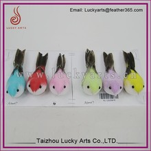 Taizhou Lucky Arts Colourful Christmas Birds Decoration with feather and cotton