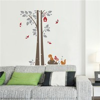 Colorcasa removable wall sticker PVC wall paper ZYPB7123 tree&squirrels 3D wall sticker art home decor for living room