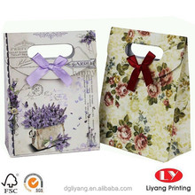 custom flower printing shopping paper bags cute gift paper shopping bag with self-sticker