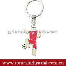 Hot Red Enamel Football Metal Keyring
