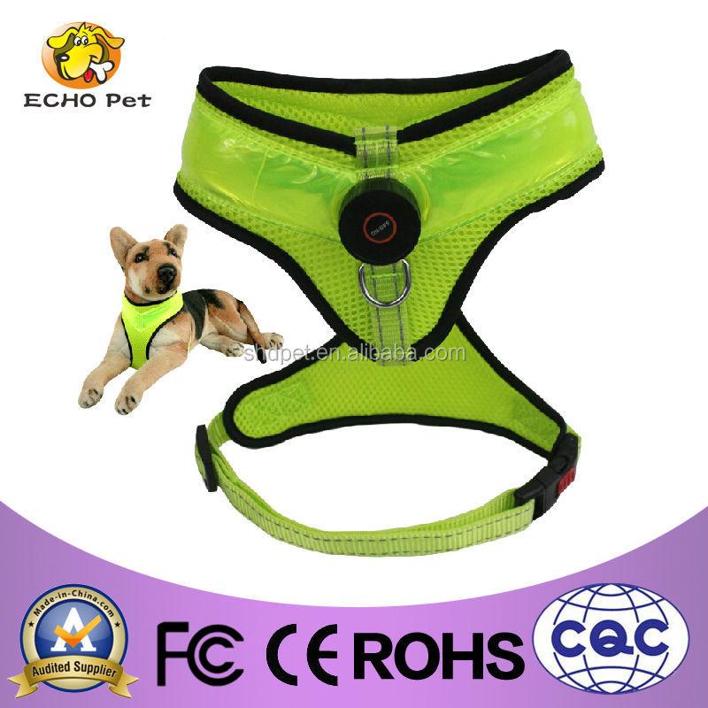 Green LED dog harness pet training vest