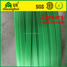Alibaba china strength factory wholesale 19mm green soft flexible plastic packing strap roll PET strapping