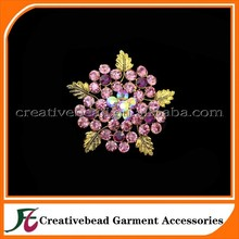 Gold Plated Brooch Crystal Beautiful Flower Brooch Pin