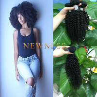 Most Popular ombre color human hair weft, 100% virgin kinky curly human hair blonde