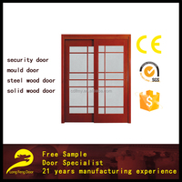 composite solid wooden framed glass sliding doors with grill design