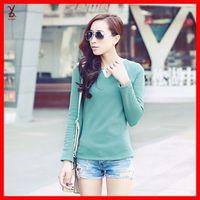 Free shipping FR50 2014 Winter new Korean women plus thick velvet backing shirt Slim V-neck long-sleeved big yards T-shirt