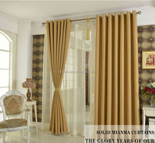 Cheap house window curtain from Chinese golden color linen curtain fabric wholesale