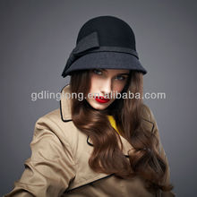 100% Australia wool felt handmade women bowler hat for winter mix greay and black packable