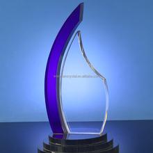 foglia forma targa trofeo di cristallo