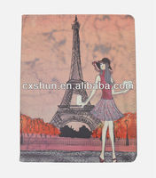 Fashion Girl Eiffel Tower Thin PU Leather Stand Case for iPad mini