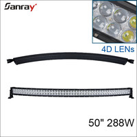 promotion! 4D 288W curved led light bar double row curved led light bar 50inch 288W wholesale 4D light bar