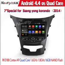 Pure android 4.4 coche DVD GPS para SsangYong Actyon nuevo / Korando 2014 con pantalla capacitiva 1.6 G CPU Quad Core 1 G RAM estéreo NAVI