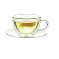 taza de vidrio con mango con platillos