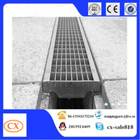 polymer concrete drains channel and U shape drain channels with metal grates