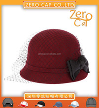 Wholesale fashion lady winter hat with bow mesh women red felt hat