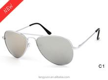 2015 Hot selling retro 3025 pilot metal sunglasses unisex mirror lenses