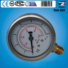 63mm 2.5 inch diameter half stainless steel hydraulic oil temperature gauge double marking 7 kg 100psi