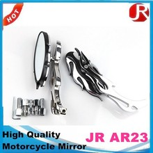 High quality Universal motorcycle side mirror BLACK CHROME FLAME OVAL
