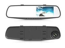 "Manufacture 4.3"" Blue Glass Anti-glare 1080P+720P 2CH Car Rearview Mirror Camera DVR"