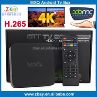 Hot selling quad core mxq android smart tv box watching free live tv channels with XBMC