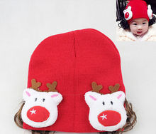 C83938A Girl's Christmas warm hats,warm baby red hat,winter girl's hat