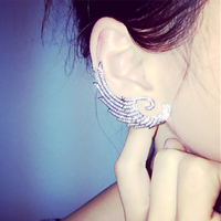 2015 Hot Wholesales New Fashion Earrings Retro Punk Wings Ear Cuff Earring Wrap Clip On for Left Ear Women Earrings For Gifts