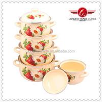 New Design Flower Decals 5Pcs Enamel Cookware Casserole Set