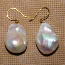 baroque pearl earring designs, 18k gold fittings