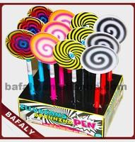 Promotion hot sell new style factory directly lolipop shaped plastic ball pen,lolipop cartoon pen,colorful lolipop shaped pen