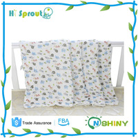 100% cotton muslin Gauze cloth printed baby towel blanket 6 layers gauze cloth towel for baby