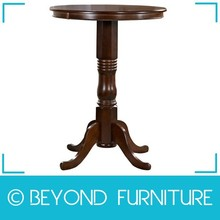 Round Bar Height Dining Table in Brown