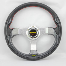 Car Modification Personality MOMO Steering Wheel Auto Parts Of Aluminium Alloy Wheel 14 Inch PVC Material Color Black