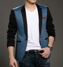WT044 Single Button Mens Stylish Blazer Garment Factory in China Patchwork Casual Blazer