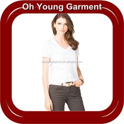Womens 100 Cotton Custom T Shirt Wholesale, Short Sleeve Deep-V-Neck Custom T Shirt Clothing Manufacturer In China