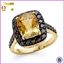 Top Quality Gemstone And Black Cubic Zirconia Sterling Silver Ring 18 K Gold Over