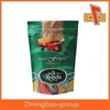 Stand up resealable plastic zip lock bags for chocolate packaging with tear notch